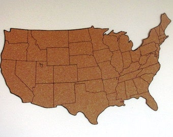 Corkboard etsy corkboard map of us with outline of states size s measures approx 19 gumiabroncs