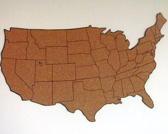 Corkboard map etsy corkboard map of us with outline of states size s measures approx 19 gumiabroncs Image collections