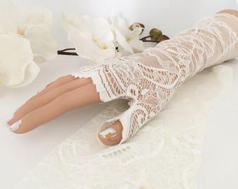Wedding gloves, bridal gloves, Ivory stretch lace gloves, lace gloves, fingerless gloves,