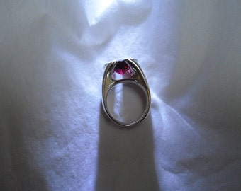 Sculptural Garnet and Sterling Silver Ring