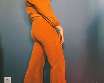 Super funky Corduroy one piece suit with flared pants. Real vintage 70's in fantastic condition
