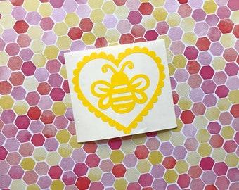 Pastel Love Hearts - Bee - Car decal, Laptop sticker, Bumble bee, Apiarist, Beekeeper, Lolita, cute, Fairy Kei, Kawaii