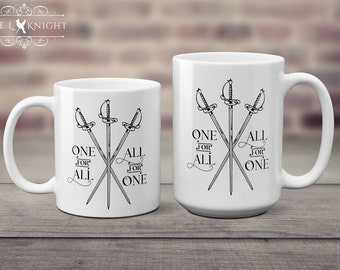 The Three Musketeers Coffee Mug - One for All, All for One - Crossed Swords
