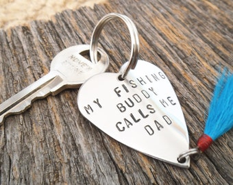 Father's Day Keychain for Husband Fathers Day Gift New Dad My Fishing Buddy Calls me Dad Fishing Lure Keychain for Men Fathers Day from Wife