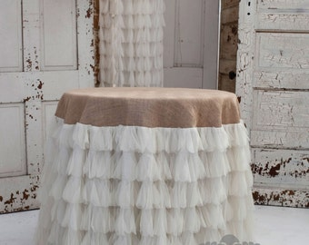 Chichi Ivory Petal And Jute Tablecloth, Tulle And Jute Tablecloth, Tulle  And Burlap Tablecloth