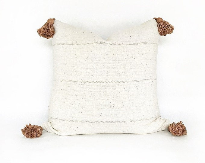 African Mudcloth With Tobacco Color Tassels Pillow Cover Various Sizes
