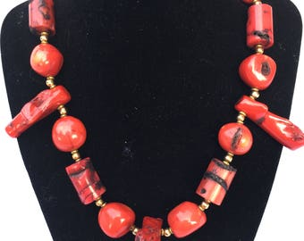 Red coral and gold necklace
