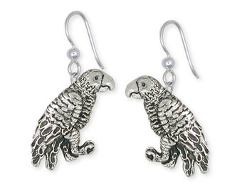 Solid African Grey Parrot Earrings Jewelry Sterling Silver AF1-E