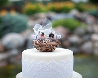 Lavender Love Bird Wedding Cake Topper: Bride & Groom Love Bird Cake Topper