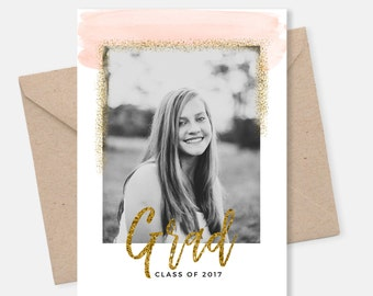 Graduation Announcement Template, Gold Graduation Invitation Template, Blush Pink Watercolor, Photo Marketing Template, PSD Template, Grad