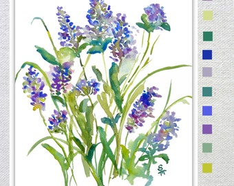 Lavender Impression, Watercolor Fine Art Print, 8x10, 11x14, Watercolor Lavender, Watercolor Flowers