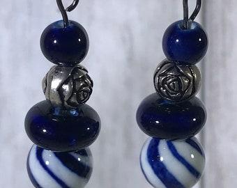 Dark Blue Striped Glass Bead Earrings