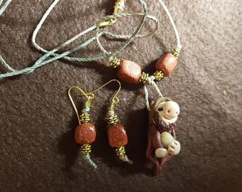 """Gnome """"Kevin"""" Necklace and Earrings"""