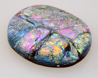 Dichroic Cabochon, Multiple Deep Sparkling Pastel Colors, 24 mm x 30 mm, Jewelry Cabochon, Wire Wrap Supply, Oval Cabochon