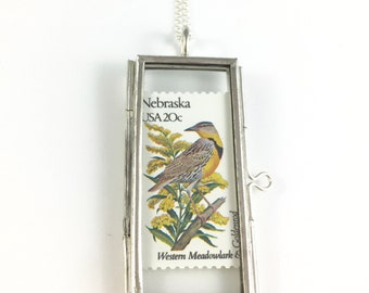 Nebraska Necklace, Nebraska Bird, Nebraska Flower, Nebraska Gift, Nebraska Jewelry, Nebraska charm, Nebraska Gift, Wife Gift, Nebraska Woman