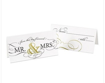 Mr. and Mrs. Place Cards for Weddings (Pack of 25)