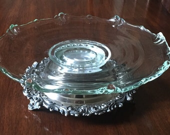 Vintage English Silver Mfg Corp Silver Plate Base Glass Platter Lazy Susan