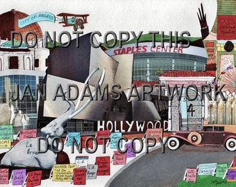 LOS ANGELES MEMORIES  Giclee of Painting Collage Hollywood Disney Getty Griffith Long Beach Newport Huntington Rodeo Drive Plane Banner