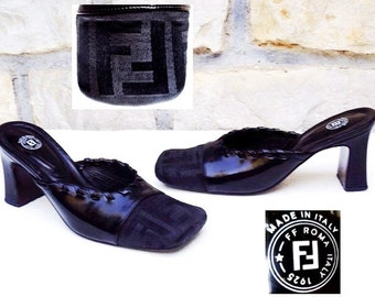 outlet wide range of Fendi Zucca Square-Toe Mules free shipping countdown package 9T1Uqfe