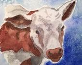 Cow In Watercolor, Origin...