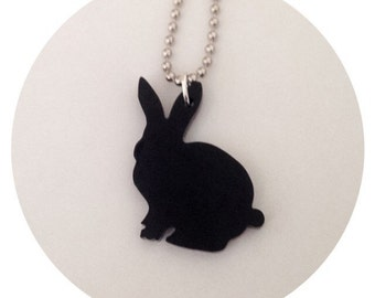Animal Shape Jewelry, Bunny Rabbit Necklace, Animal Necklace, Black Lasercut Acrylic