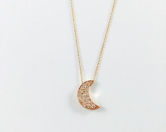 14k Gold Crescent Moon Shape Diamonds Necklce