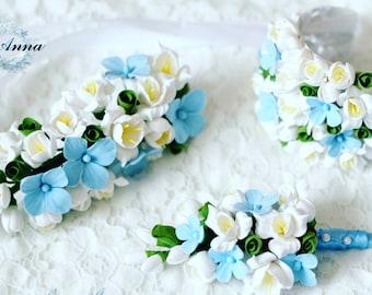flower wedding set, hydrangea  bride bracelet, fresia bracelet, blue bride, blue bride hair, bridesmaids gift, bride bracelet, blue wedding
