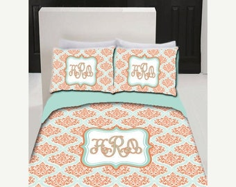Memorial On Sale Personalized Custom Dream Damask Bedding- Coral and Aqua Damask Accents -Twin XL Bedding - Perfect for DORM and Roommate