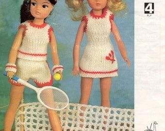 Sindy Tennis Outfit Dress Pants Top Shorts Armbands 4 Ply Yarn Knitting Pattern Original Emu Larger Print Instructions