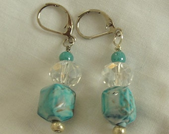 Bead Earrings, Aqua Earrings, Pierced, Silver, Composite, Glass, Turquoise Earrings, Caribbean, Handmade