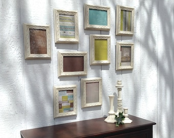 Farmhouse White 5x7 Picture Frames - Identical Set of 9 Wall Hanging - Shabby Cottage Chic Frames - White Wall Decor