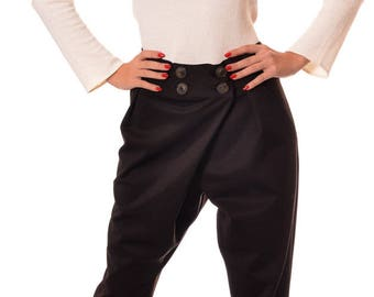 Plus Size Harem Pants, Drop Crotch Pants, High Waist Pants, Wide Leg Trousers, Stylish Brown Pants, Women Harem Pants by Danellys D14.02.03