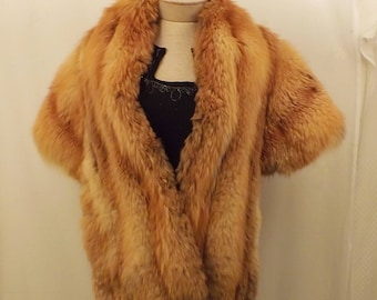 50's Vintage Natural Real Red Fox Fur Stole Or Fur Shawl Fur Cape