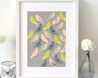 A4 Bird's out for a stroll art print / Wall art / Bird lovers gift / Mother's Day gift / Free uk shipping