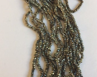 Antique  Metal Micro Beads - 1 Partial hank - Bronze and Silver Mix