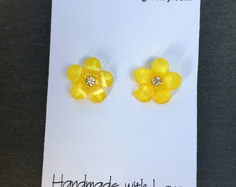 Yellow Flower Earrings - Girls Yellow Earrings - Girls Earrings - Girls Stocking Stuffer