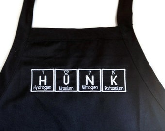 "HUNK Periodic Table BBQ Apron Embroidery 30"" Made to Order"