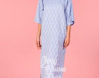 Blue dress/ Summer dress/ Elegant dress/ Party dress/ Long sleeve dress/ Midi dress/ Midi tea dress/ Plus size dress/ Cute dress/054.159