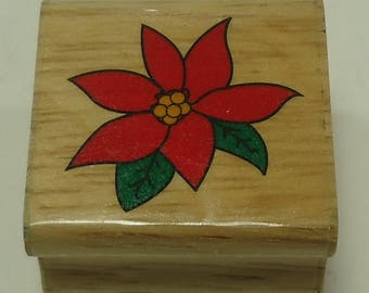 Poinsettia Wood Mounted Rubber Stamp Christmas, Flower, Floral, Flowers