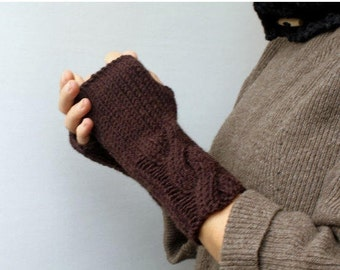 Clothing Gift. Chocolate Brown Warm Cable Knitted Fingerless Gloves