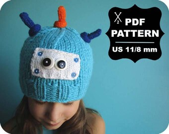English-French Two Needle KNITTING PATTERN / Digital Download / #51 / Knitted Fox Hat / 6-16M to 5 years-Adult / US11 / 8mm