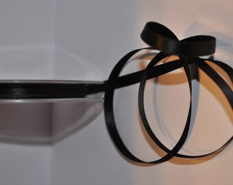 satin ribbon double sided Black 6 mm sold in 25 meter roll