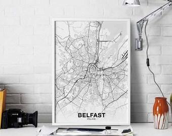 Belfast Map Etsy