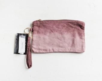 Ombre Linen Pouch / Natural Linen Purse / Hand Dyed Linen Clutch / Woman Fashion Accessories / Flax Small Pouch / Pencil Case / Zipper Pouch