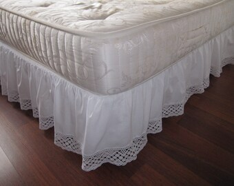 Twin XL Queen King Dust ruffle Bedskirt solid White pink cotton bobbin lace  trimmed-shabby