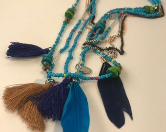 Turquoise boho necklace with tassel