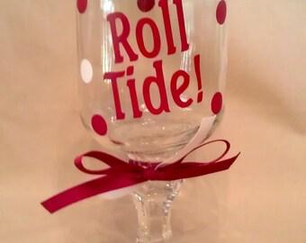 University of ALABAMA ROLL TIDE Redneck Wine Glass for Crimson Tide fans