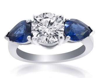 4.31 Carat G-SI2 Round Cut Diamond Natural Blue Ceylon Sapphire Ring 14K White Gold