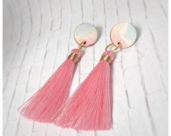 polymer clay earrings tassel earrings pastels studs nickel free earrings gift for her wife gift lightweight earrings watercolor earrings
