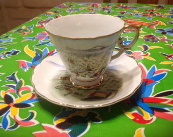 Vintage hand painted ceramic souvenir cup and saucer-Seattle